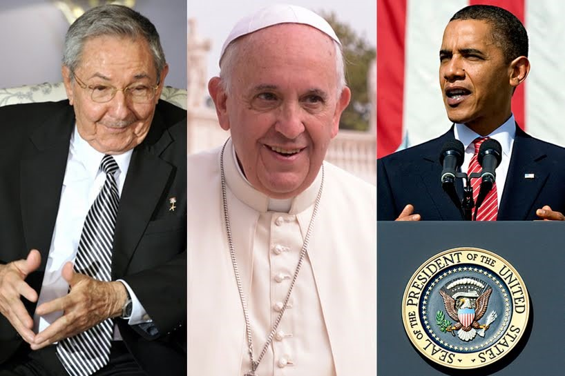Raul Castro, Pope Francis and Barack Obama